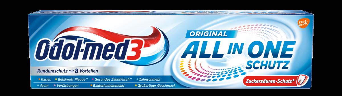 Die Odol-med3 All in One Schutz Zahnpasta im Überblick.