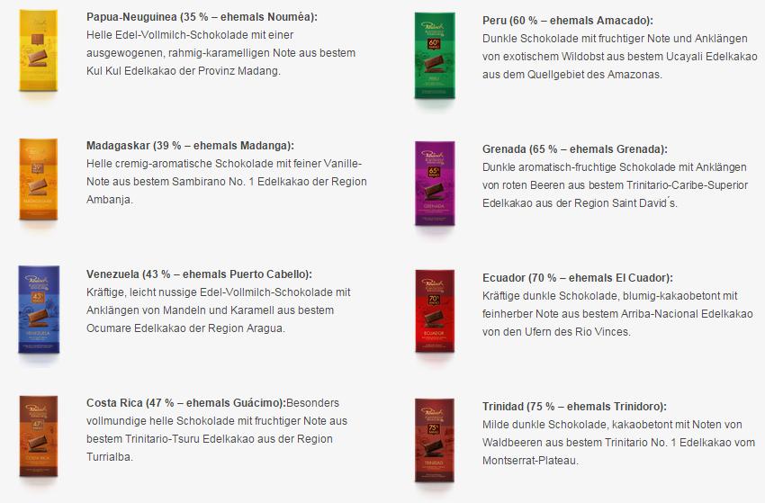 Rausch - die acht Sorten Rausch Plantagen-Schokolade