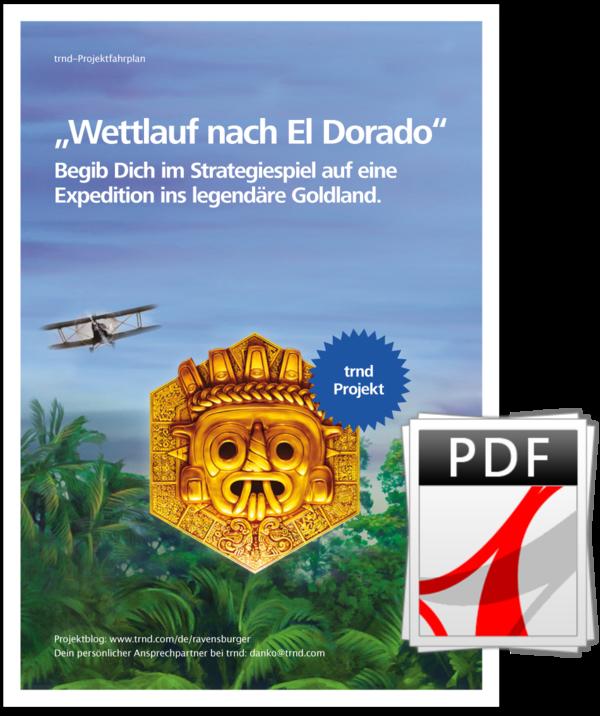 """Projektfahrplan zum trnd-Projekt mit """"Wettlauf nach El Dorado"""" von Ravensburger."""