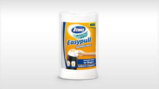 … Kompakt-Rolle ist reißfest sowie saugstark und als Nachfüllpack für den Papierspender erhältlich. Von allen Vorteilen des neuen Zewa Wisch&Weg Easypull …