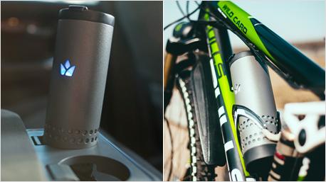 Dadurch ist er bestens zum Mitnehmen geeignet - ob im Auto, auf dem Rad oder in der Handtasche.