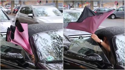 ... wie gewöhnliche Regenschirme auch: man streckt ihn nach vorne und schiebt den Schirm nach oben. Nur: Die Streben sind biegsam und ...