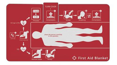 Tritt ein Notfall ein, bei dem eine Person bewusstlos ist, muss die Decke nur ausgebreitet und die Person vorsichtig darauf gelegt werden.
