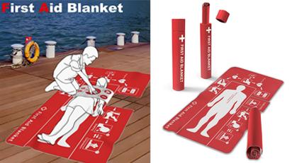 Die Erste-Hilfe-Decke ermöglicht es, in kurzer Zeit alle wichtigen Handgriffe und Schritte zur Ersten Hilfe zu erfassen und sie anzuwenden.