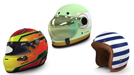 Individuell gestaltete Helme.