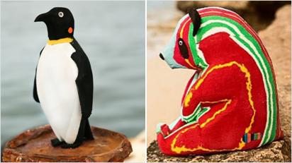 Pinguin und Panda-Bär.