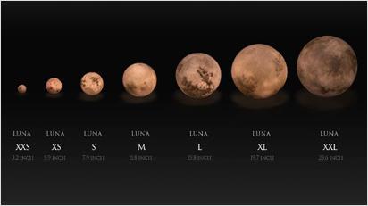 Die LUNA Lampe gibt es in sieben verschiedenen Größen. Sie variiert zwischen einem Durchmesser von 8 cm bis zu 60 cm.