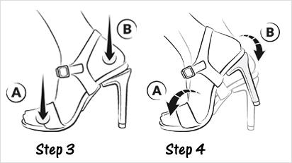 3.) Gewicht auf den Fußballen verlagern, dann mit der Ferse auftreten bis der Absatz einrastet. 4.) Auf die Zehenspitzen stellen und erneut mit der Ferse auftreten.