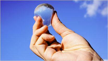 Essbare Wasserblasen.