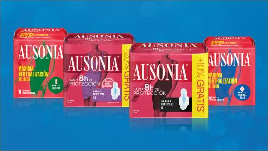 … con las compresas Ausonia para 8 horas de protección…