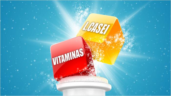 … con L. Casei y, además, vitamina D que ayuda a las defensas y vitamina B6 que también ayuda a reducir el cansancio y la fatiga…