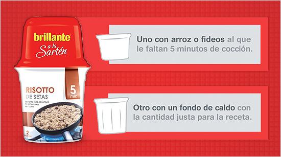 Cada envase de Brillante a la Sartén está compuesto por dos vasos: uno con arroz o fideos, y el otro con el fondo de caldo.