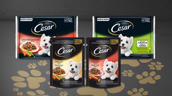 Encontraremos las bolsitas Cesar en el supermercado, en 2 recetas en formato individual y en packs de 4 bolsitas.