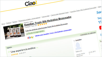 Ejemplo de una reseña en Ciao! sobre Hawaiian Tropic