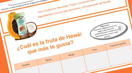 Encuesta sobre ingredientes de Hawái para compartir con nuestro entorno