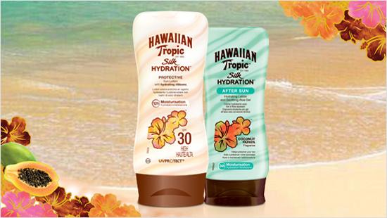 Hawaiian Tropic Silk Hydration es la primera línea de productos solares con cintas de seda hidratantes…