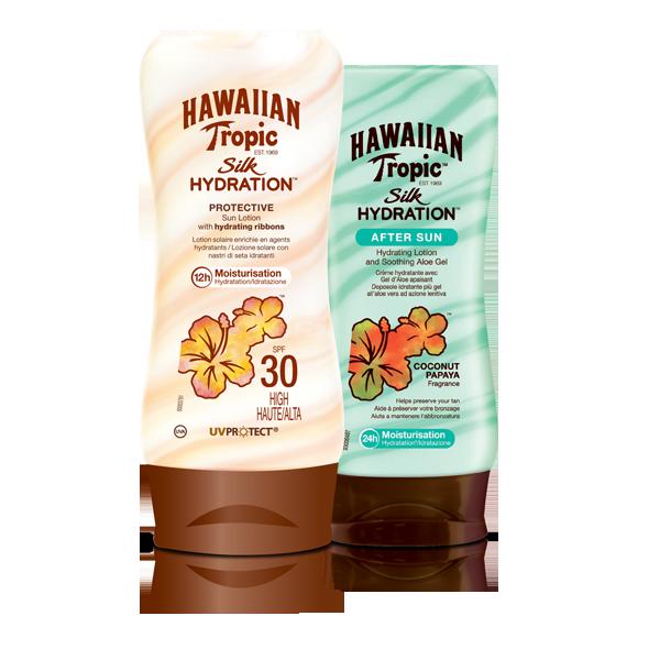 Hawaiian Tropic Silk Hydration es la línea de productos solares con cintas de seda hidratantes que mantiene la piel hidratada 12 horas, a la vez que protege de los rayos del sol