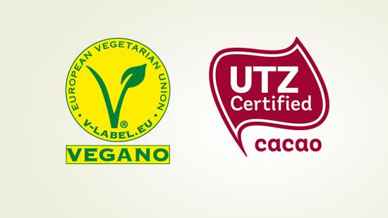 Con el aval de la European Vegetarian Union y el certificado UTZ Cacao Sostenible.
