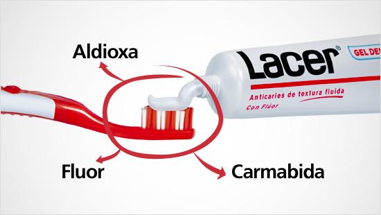 Gracias a su comoposición con Flúor, Aldioxa y Carmabida, el Gel dentífrico Lacer garantiza una limpieza completa…