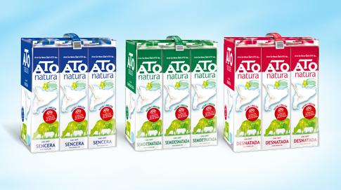 ATO Natura está disponible en tres variedades: Entera, Semidesnatada y Desnatada; y en dos formatos de venta: el brik de un litro y el pack de briks (6 litros).