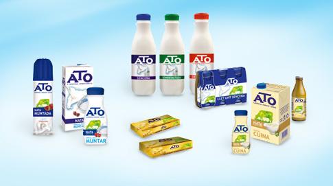 Además de la gama ATO Natura, ATO dispone de otros productos como Leche en Botella, Nata para Montar, Nata para Cocina y Mantequilla.