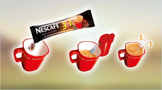 Con una taza, 200 ml de agua caliente y un sobre monodosis de NESCAFÉ 3en1…