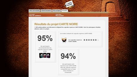 CARTE NOIRE page de résulat