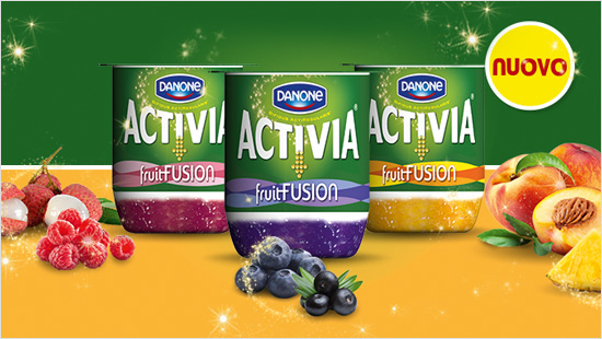 Activia fruitFusion è la novità di Activia che unisce una combinazione ricercata di due frutti deliziosi ad uno strato di cremoso Activia contenente il BIFIDUS ACTIREGULARIS.