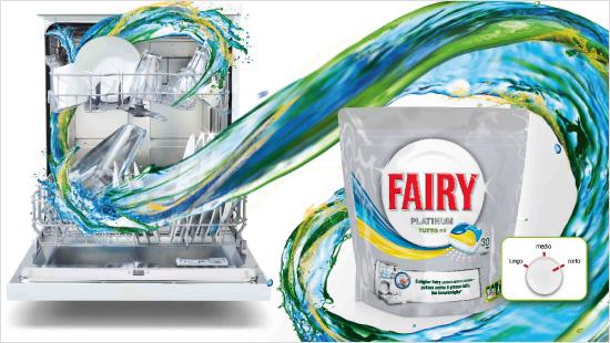 … inoltre, grazie alla sua forza sgrassante, Fairy Platinum è ideale anche per cicli brevi di lavaggio...