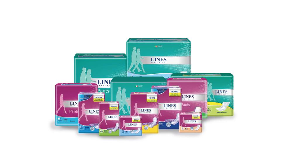 ...ha creato la nuova linea completa LINES Specialist, una risposta avanzata e specifica per donne e uomini che soffrono di incontinenza, da lieve a molto elevata.