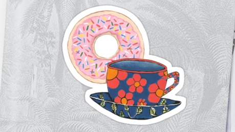Net zo'n fan van stickers als van donuts? Dan moet je deze donut-stickers echt hebben! Bron: redbubble.com/people/kathlesa/works/23362631-coffee-and-donuts