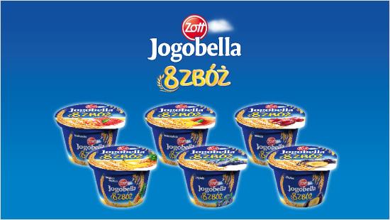 Odkryjemy też aż sześć smaków Jogobella 8 Zbóż: ananas-banan, śliwka, truskawka, brzoskwinia, wiśnia, jagoda.