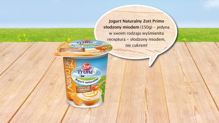 W ramach projektu możesz zakupić jogurt naturalny Zott Primo słodzony miodem.