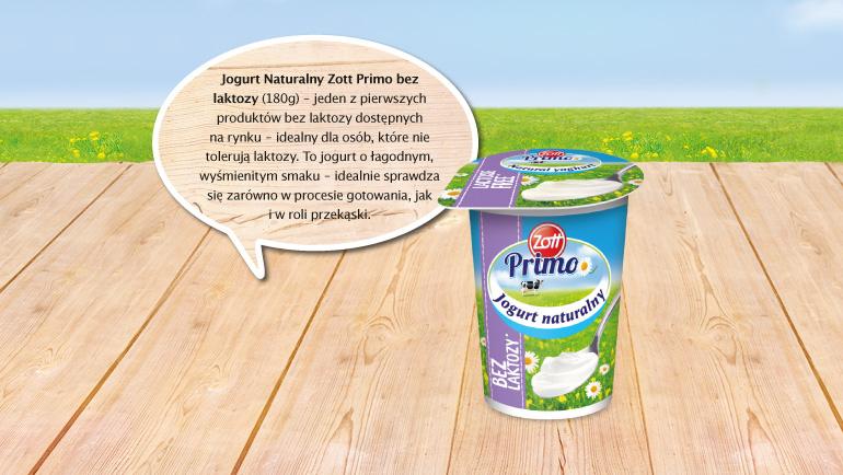 W ramach projektu możesz zakupić jogurt naturalny Zott Primo bezlaktozowy - idealny dla osób, które nie tolerują laktozy.