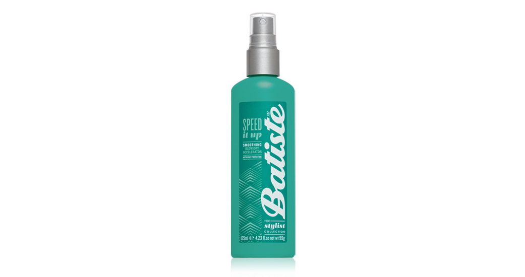Batiste Blow Dry Accelerator speeds up blow dry by up to 30% and also protects hair from heat damage.